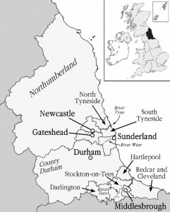 Map of the North East of England (from Buchstaller et al. 2017)